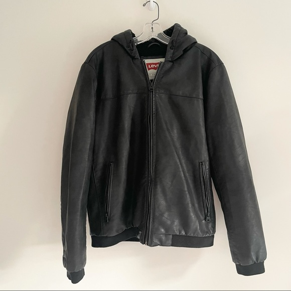 LEVIS FAUX LEATHER MENS BOMBER SHERPA LINED JACKET
